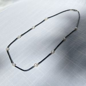 Silver beaded and White Pearl Necklace